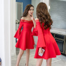 Dress Winter 2020 White, red, black S,M,L,XL Short skirt singleton  Long sleeves commute One word collar middle-waisted Solid color zipper Big swing Flying sleeve Others 18-24 years old Type A Other / other Korean version