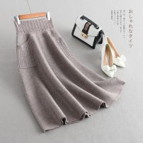 skirt Spring 2021 One size fits all [waist 1'8 to 2'4] Black dark grey light coffee Mid length dress Versatile High waist A-line skirt Solid color Type A LYQ101820 knitting Yaqiandi pocket Pure e-commerce (online only)