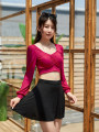 Split swimsuit other Red and black elegant 9135 The average size is suitable for 80-115 Jin Skirt split swimsuit With chest pad without steel support spandex female V-neck