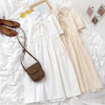 Dress Summer 2021 Apricot, white Average size 18-24 years old 81% (inclusive) - 90% (inclusive) polyester fiber