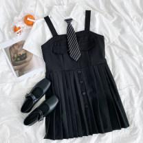 Dress Summer 2021 Short sleeve shirt, suspender dress Average size 18-24 years old More than 95% polyester fiber