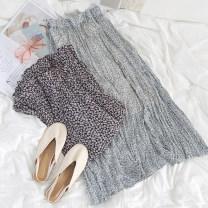 skirt Summer 2021 Average size Blue skirt, black skirt 18-24 years old More than 95% polyester fiber