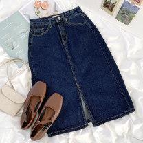 skirt Spring 2021 S,M,L navy blue longuette commute High waist A-line skirt Solid color Type A 18-24 years old 51% (inclusive) - 70% (inclusive) Denim cotton Button Korean version