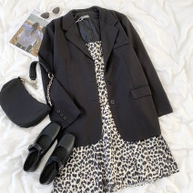 T-shirt Black suit , Leopard print dress Average size Summer 2021 polyester fiber 96% and above 18-24 years old