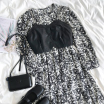 Dress Autumn 2020 Black and white floral skirt, leather vest Average size longuette singleton  Long sleeves Crew neck High waist Decor Socket A-line skirt routine 18-24 years old printing More than 95% other