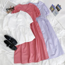 Dress Summer 2021 White, purple, pink Average size Mid length dress singleton  Short sleeve Sweet V-neck High waist puff sleeve Others 18-24 years old More than 95% other cotton college