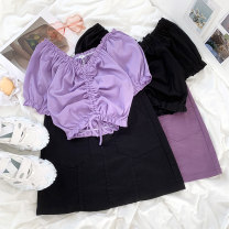 Fashion suit Summer 2021 S. M, average size Black skirt, purple skirt, purple top, black top 18-25 years old 96% and above cotton