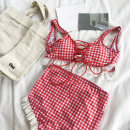 Casual suit Summer of 2018 Red and white check Average size polyester fiber