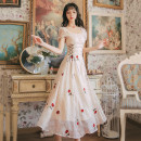Dress Summer 2021 Champagne S,M,L longuette singleton  Short sleeve commute square neck Dot A-line skirt routine Type A Xiangsari snow Retro Embroidery, stitching, bandage