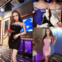 Dress Autumn 2020 White, pink, blue, black Average size Short skirt singleton  Sleeveless commute One word collar middle-waisted zipper Pleated skirt other Breast wrapping 18-24 years old Type H Korean version Button 31% (inclusive) - 50% (inclusive)