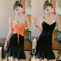 Fashion suit Summer 2020 Average size Sling orange, sling black, black skirt s, Black Skirt M, black skirt L 18-25 years old Other / other 31% (inclusive) - 50% (inclusive) cotton