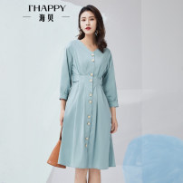 Dress Spring 2020 Atkaran XS S M L Mid length dress singleton  three quarter sleeve V-neck Elastic waist Socket other routine 25-29 years old Type A Ihappy / seashells Button H0R02BH417 51% (inclusive) - 70% (inclusive) cotton Same model in shopping mall (sold online and offline)