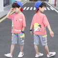 suit Boboelphant / bubble elephant Pink blue white 100cm 110cm 120cm 130cm 140cm 150cm 160cm 170cm male summer motion Short sleeve + pants 2 pieces Thin money There are models in the real shooting Socket nothing Cartoon animation cotton children Giving presents at school Class B Other 100%