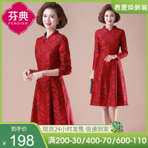 Middle aged and old women's wear Spring 2021 Red 1 2 Suggestions for XL (150-140 kg) from 155 kg to 140 kg (recommended) fashion Dress easy singleton  Solid color 40-49 years old Conjoined moderate Half open collar routine FD-20B511 Fendian Button polyester Polyamide (nylon) 77.2% polyester 22.8%