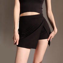 skirt Spring 2021 S,M,L black Short skirt High waist Solid color Type A 25-29 years old other zipper
