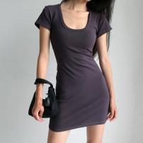 Dress Summer 2020 Black, gray S, M Short sleeve Crew neck High waist