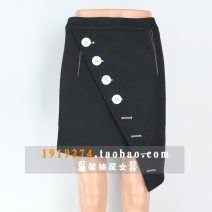 skirt Autumn of 2019 Short skirt commute Natural waist Irregular Solid color Type H 35-39 years old More than 95% other cotton Asymmetric, button, zipper