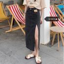 Women's large Summer 2021 Black, blue S [recommended 80-95 kg], m [recommended 95-110 kg], l [recommended 110-125 kg], XL [recommended 125-140 kg], 2XL [recommended 140-160 kg], 3XL [recommended 160-180 kg], 4XL [recommended 180-200 kg] skirt singleton  commute easy moderate Solid color Denim, cotton