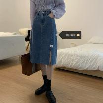 Women's large Summer 2021 blue S [recommended 80-95 kg], m [recommended 95-110 kg], l [recommended 110-125 kg], XL [recommended 125-140 kg], 2XL [recommended 140-160 kg], 3XL [recommended 160-180 kg], 4XL [recommended 180-200 kg] skirt singleton  commute easy moderate Solid color Korean version