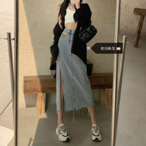 Women's large Summer 2021 Light blue, black S [recommended 80-95 kg], m [recommended 95-110 kg], l [recommended 110-125 kg], XL [recommended 125-140 kg], 2XL [recommended 140-160 kg], 3XL [recommended 160-180 kg], 4XL [recommended 180-200 kg] skirt singleton  commute easy moderate Solid color other