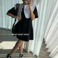 Dress Summer 2021 black S,M,L Short skirt singleton  Short sleeve commute Doll Collar High waist Solid color Socket A-line skirt puff sleeve Type A Retro 31% (inclusive) - 50% (inclusive) other