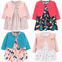 Dress female Other / other 6m / 59cm for 5-7kg, 9m / 66cm for 8-11kg, 12m / 73cm for 12-14kg, 18m / 80cm for 15-17kg, 24m / 85CM for 18-22kg Cotton 100% spring and autumn Europe and America Long sleeves Broken flowers cotton A-line skirt foreign trade Class A Chinese Mainland Guangdong Province
