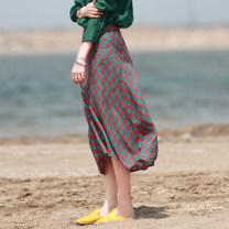 skirt Summer 2021 M, L Decor Mid length dress Versatile Natural waist A-line skirt lattice Type A 25-29 years old More than 95% hemp