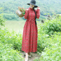 Women's large Autumn of 2018 Red, blue L (recommended below 130 kg), XL (recommended 130-140 kg) Dress singleton  commute easy thin Socket Long sleeves Decor ethnic style stand collar hemp printing and dyeing routine pocket 31% (inclusive) - 50% (inclusive) longuette