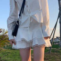 skirt Summer 2020 S,M,L Black, white Short skirt Sweet High waist A-line skirt Solid color Type A 18-24 years old More than 95% cotton solar system