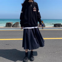 skirt Winter of 2019 S,M,L black Mid length dress Sweet High waist A-line skirt Solid color Type A 18-24 years old More than 95% Other / other polyester fiber solar system