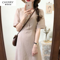 Dress Summer of 2019 Khaki, coffee S,M,L,XL Mid length dress singleton  Short sleeve commute square neck High waist Solid color Socket A-line skirt routine Others 18-24 years old Type A Korean version