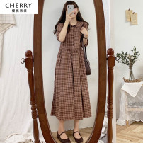 Dress Spring 2021 Coffee, apricot S,M,L,XL longuette singleton  three quarter sleeve commute Doll Collar Loose waist lattice Socket A-line skirt routine Others 18-24 years old Type A Other / other Korean version ythz20218399 81% (inclusive) - 90% (inclusive) other hemp