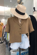 shirt Khaki, black S,M,L,XL Summer 2020 other 30% and below Short sleeve commute tailored collar Single row multi button Solid color 18-24 years old Straight cylinder Korean version