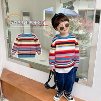 Sweater / sweater 80cm,90cm,100cm,110cm,120cm,130cm other neutral Rainbow color Cotton class leisure time There are models in the real shooting Socket routine Crew neck nothing Ordinary wool stripe MY1001 Six months, 12 months, 18 months, 2 years, 3 years, 4 years, 5 years, 6 years