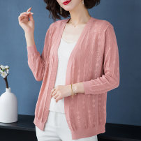Middle aged and old women's wear Summer 2020 M L XL XXL XXXL 4XL commute Knitwear / cardigan easy singleton  Solid color 40-49 years old Cardigan thin V-neck have cash less than that is registered in the accounts routine Wise and clear polyester 31% (inclusive) - 50% (inclusive) Korean version