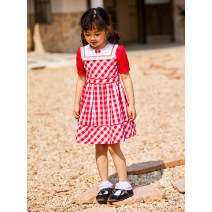 Dress White and red check female Other / other 90cm,100cm,110cm,120cm,130cm,140cm Cotton 100% summer princess Short sleeve lattice cotton Princess Dress 18 months, 2 years old, 3 years old, 4 years old, 5 years old, 6 years old Chinese Mainland Guangdong Province