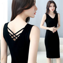 Dress Spring 2021 Black skirt, blue skirt S suggests 65-85 Jin, m suggests 85-100 Jin, l suggests 100-115 Jin, XL suggests 115-125 Jin, 2XL suggests 125-155 Jin Mid length dress singleton  Sleeveless commute V-neck High waist Solid color other Pencil skirt other Others 18-24 years old Type X other