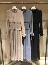 Dress Spring 2021 Beige, black, haze blue S, M Mid length dress Two piece set Long sleeves stand collar High waist Socket routine other
