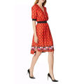 Dress Autumn of 2019 gules XS,S,M,L,XL Mid length dress singleton  three quarter sleeve street V-neck High waist zipper A-line skirt routine Type A TB452 Europe and America