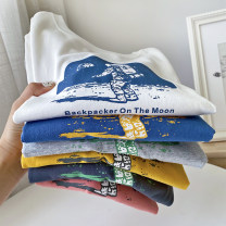 T-shirt white , Ginger  , Plain blue , Iron grey , Pink , Hemp grey , Iron gray yellow astronaut Other / other (tag 110), (tag 120), (tag 130), (tag 140), (tag 150), (tag 160) male spring and autumn Long sleeves Crew neck leisure time No model nothing cotton printing HB7026 other