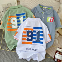 T-shirt White, bean green, dark blue Other / other (tag 110), (tag 120), (tag 130), (tag 140), (tag 150), (tag 160) neutral summer Lapel and pointed collar leisure time nothing cotton printing PL630