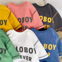 T-shirt Yellow, white, light blue, iron gray, boy pink, light green Other / other (tag 110), (tag 120), (tag 130), (tag 140), (tag 150), (tag 160) male summer Short sleeve Crew neck leisure time No model nothing other letter HB7029