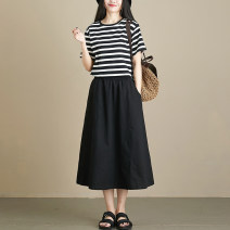 skirt Spring 2021 Elastic waist (skirt piece) Khaki black Mid length dress commute High waist A-line skirt Type A S343 solid five and a half skirt More than 95% Mengge / Mungo cotton Ol style Cotton 97.2% other 2.8%