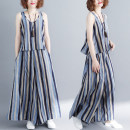 Women's large Summer of 2019 Blue stripe Average size [100-180 Jin] Two piece set commute easy thin Socket Sleeveless stripe Korean version Crew neck routine Cotton, hemp Other / other 81% (inclusive) - 90% (inclusive) trousers