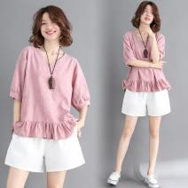 Women's large Summer of 2019 Pink top, green top, white pants M [95-120 Jin], l [120-140 Jin], XL [140-160 Jin], XXL [160-180 Jin] T-shirt singleton  commute easy moderate Socket Short sleeve Solid color Korean version V-neck routine Cotton, hemp Collage routine Other / other