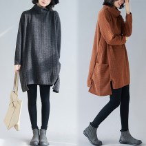 Dress Winter 2020 black Average size [100-180 Jin] Middle-skirt singleton  Long sleeves commute High collar Loose waist Solid color Socket A-line skirt routine Others Type A Other / other Korean version Asymmetry 81% (inclusive) - 90% (inclusive) other cotton