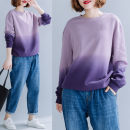 Women's large Autumn of 2019 violet Average size [100-200kg] Sweater / sweater singleton  commute easy thick Socket Long sleeves Abstract pattern literature Crew neck routine cotton printing and dyeing routine Other / other 25-29 years old 81% (inclusive) - 90% (inclusive)