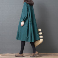 Women's large Spring of 2019, autumn of 2019 Black, blue and green M [95-115 Jin], l [115-125 Jin], XL [125-140 Jin], XXL [140-170 Jin] Dress singleton  commute easy moderate Cardigan Long sleeves Solid color Korean version stand collar cotton Collage routine Other / other pocket Medium length