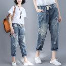 Jeans Summer of 2019 blue Ninth pants Natural waist Haren pants routine Cotton denim Dark color Other / other 51% (inclusive) - 70% (inclusive)