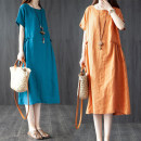 Dress Summer 2020 M [95-115 Jin], l [115-125 Jin], XL [125-140 Jin], XXL [140-170 Jin] Mid length dress singleton  Short sleeve commute Crew neck Loose waist Solid color Socket A-line skirt routine Others Type A Other / other Korean version Pockets, stitching 51% (inclusive) - 70% (inclusive) other
